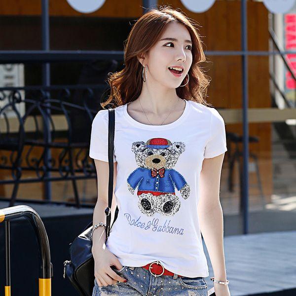 Großhandels-2017 Sommer-Damen-Art- und Weisebaumwolle O-Ansatz-Kurzschluss-T-Shirt dünnes Baumwollhemd für Frau mit handgemachtem LOGO 3D Bär 7992