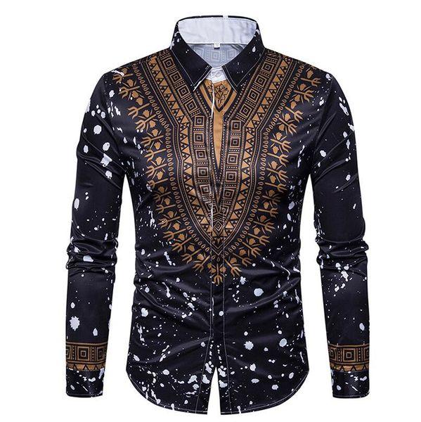 2c4a3d956c07 Compre Marca 2018 Moda Camisa Masculina De Manga Larga Tops Slim Casual  Comercio De Color Sólido Camisas De Vestir Camisa De Hombre Delgado XXXL A  ...