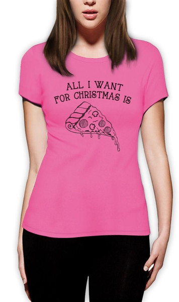 Baskılı T Shirt Giyim O-Boyun Kadın Kısa Kollu Uzun Tüm Xmas Olduğunu Için Olduğunu Pizza Noel Moda Stil Komik Sevimli T Shirt