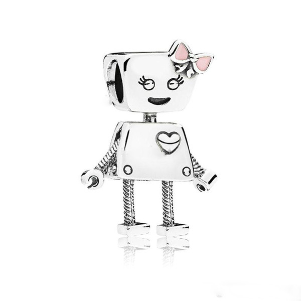 2018 Summer New Authentic 925 Sterling Silver Bella Bot Charm, Pink Enamel Charm Beads Fit Pandora Charms Bracelet Jewelry Making