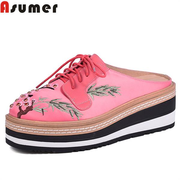 ASUMER noir mode printemps automne chaussures femme bout carré mules chaussures lacets compensées chaussures plate-forme pantoufles en cuir véritable