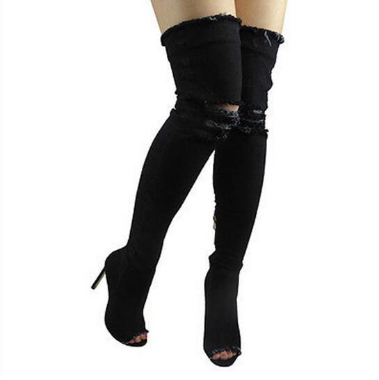 Sexy Women High Heels Boots Denim pumps shoes ladies Peep Toe Zip Female Stiletto Over The Knee High Boots Zapatos Mujer