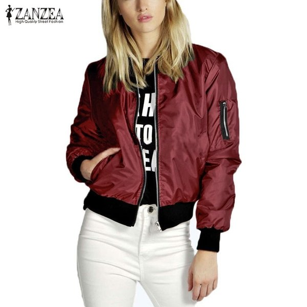 0b3edcd6fd9 ZANZEA 2018 Spring Autumn Women Thin Jacket Tops Celeb Bomber Long Sleeve  Coat Casual Stand Collar