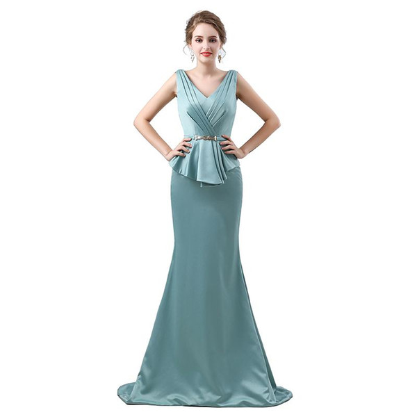 Elegant Mermaid Evening Dresses 2018 Satin sleeveless V Neck Prom Gown For Women Mother Of The Bride Dress Custom Made Plus Size 17-6642
