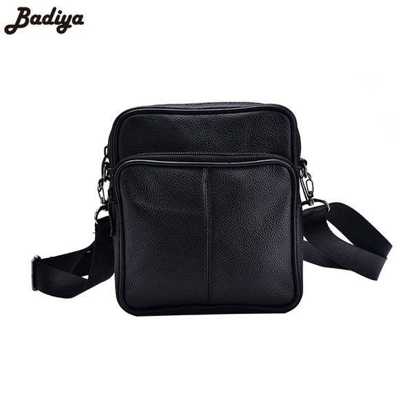 New Men's Messenger Bag Solid Shoulder Bag Genuine Leather Small Flap Crossbody Bags for Coins Phone Purse Sac Mini Handbag