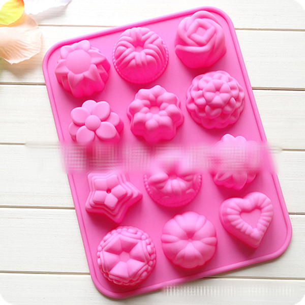 12 celosía 3D Flor de silicona hierba molde Herramientas Ice Cube Molde de Chocolate Dulces Galleta Hornear Fondant Molde Cake Decoration B