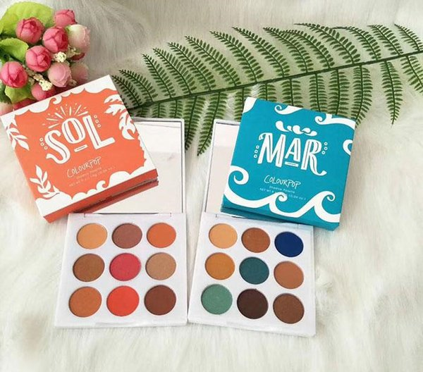 Factory Direct DHL Free Shipping Newhot makeup colourpop 9 colors eyeshadow palette mar with sol eye shadow two stype to choose cosmetics
