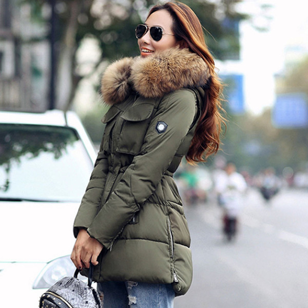 TOP Quality Large Real Fur 2017 Winter Jacket Women Raccoon Fur Collar Hooded Thick For Womens Jackets And Coats Winter Parka