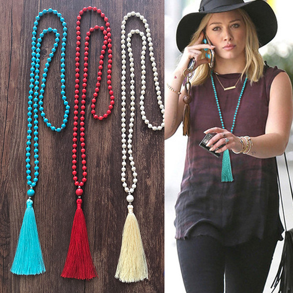 New Unique Natural Howlite Stone Kontted Long Tassel Necklace Blue Beads Mala Tassels Necklace Women Yoga Necklace