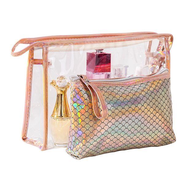 2 Pcs Sets Women PVC Scale Cosmetic Bag Laser Dazzling Washing Toiletry Kits Makeup Bag Female Portable Travel Organizer Neceser Mujer