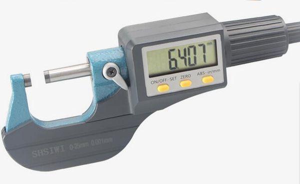 best selling Brand New 0.001mm Electronic Outside Micrometer 0-25mm Digital Micrometer Caliper Gauge Meter Spiral Micrometer Carbide Tip Measure Tools