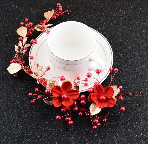 Bridal headwear red accessories, such as handmade flowers, head flower, crystal pearl alloy ornaments, wedding accessories.