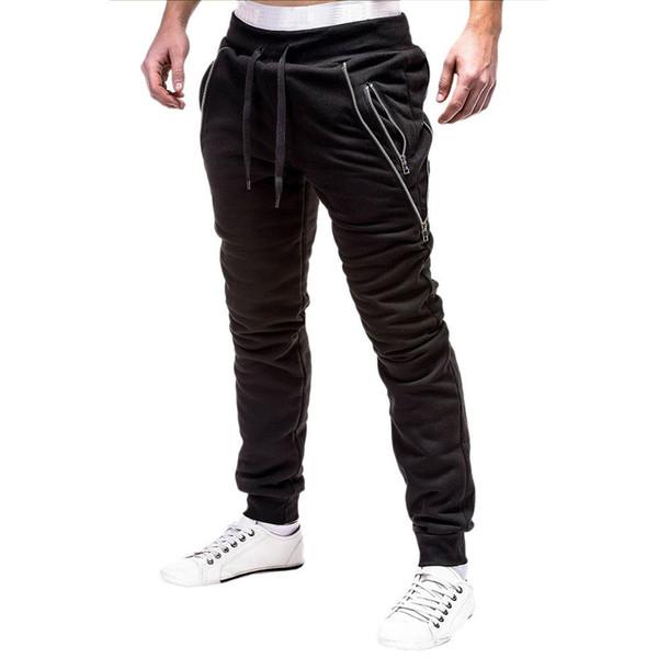 mrwonder Hommes Élégant Fermeture Éclair Décoration Pantalon De Sport Long Pantalon Décontracté Parfait Cadeau