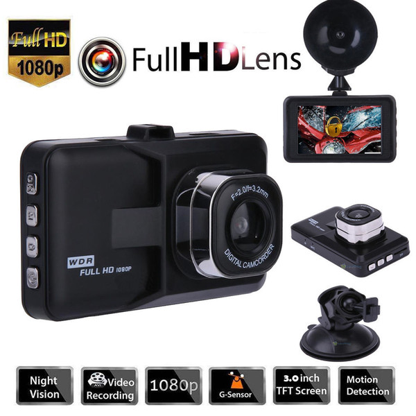 "3.0"" Vehicle 1080P Car DVR Dashboard DVR Camera Video Recorder Dash Cam G-Sensor GPS Free Shipping"