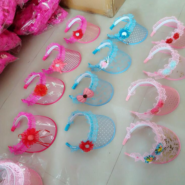 Shade Hat Summer Kid Sun Visor Plastic Sun Hat Hair Hoop Type Empty Top Hat Cartoon Lace BABY Toys
