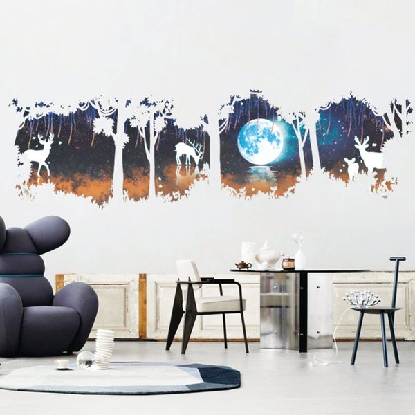 Huge Tree Forest deer Elk Moon Lake Wall Stickers Modern Decorations For Living Room Bedroom Decor Home Decal Posterhaif