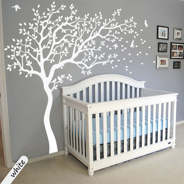 Large Size White Tree Wall Stickers DIY Home Decoration Wall Decals Modern Art Murals For Living Room Bedroom Kids Room