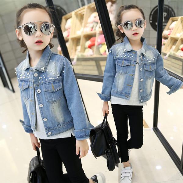 5-14Years Big Girls Hole Denim Jackets Coats Fashion Children Outwear Coat Sequins Little Girl Design girls Kids Jeans Jacket