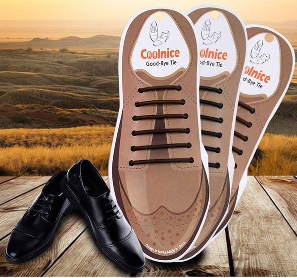 Coolnice No Tie Shoelaces for Men Leather Shoes Silicone Elastic Round Dress Shoes Shoelaces Black Brown Color