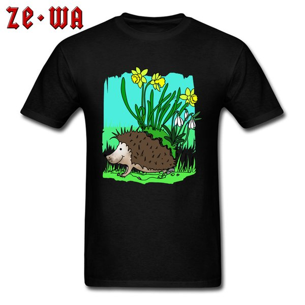 Formal Cotton T Shirt Men T Shirt Black Tee Shirts Top Quality Plus Size Clothes Cartoon Print Cute Spring Hedgehog With Flowers