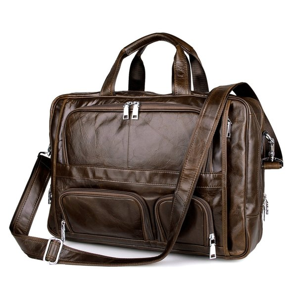 Large capacity 100% Cow Genuine leather bag men 17.5 inch high quality Laptop bag 17.3 17 inch Shoulder messenger Business
