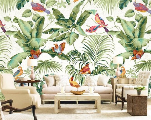 best selling 3D stereo tropical garden flower bird painting style wallpaper bedroom TV background personality wallpaper mural Home Decor Wallpaper