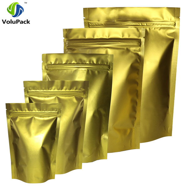 High Quality 100pcs/lot Matte Gold Metallic Mylar Heat Sealable Zip Lock Stand Up Pouch For Coffee Bean Herb Storage Packing Bag