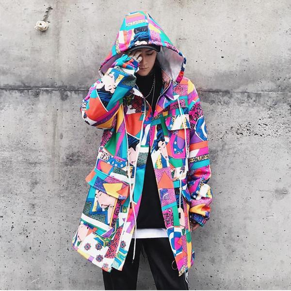 Long Trench Coat Men Streetwear Geisha Printed Hooded High Street Clothing S1015