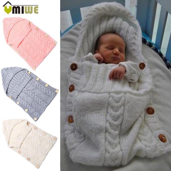 Newborn Toddler Blanket Handmade Infant Babies Sleeping Bag Knit Costume Crochet Baby Knitted Sleeping Bags Sleep Sacks Button