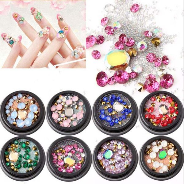 1 Bag Nail Rhinestones Colorful Crystal Nail Studs Manicure Art Decorations For Choice