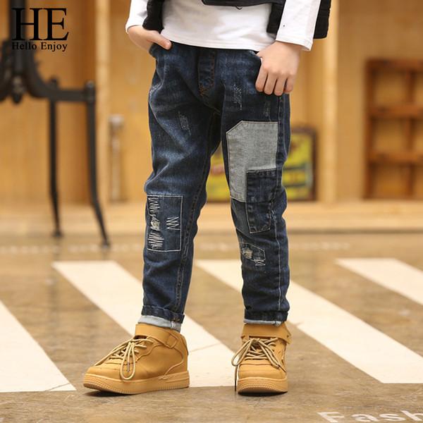 Он Привет наслаждаться мальчики брюки Брюки дети джинсы мальчики дети весна осень 2018 мальчиков джинсы лоскутное тощий 12 год Y18103008