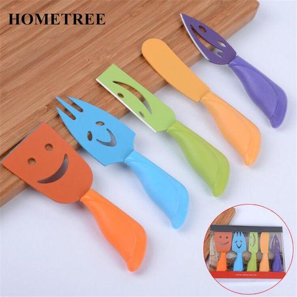 Hometree 5pcs /Set Stainless Steel Smile Cheese Knife Set Cheese Fork Butter Knife Cheese Cutter Kitchen Tool Cooking Gadget H517
