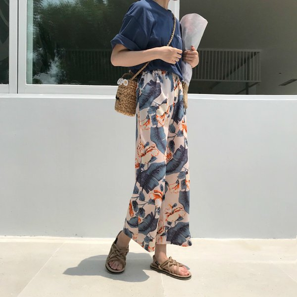 2018 Chiffon Summer Trousers Womens Vintage Bohemian Tropical Floral Printed Elastic Waist Wide Leg Pants
