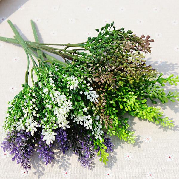 15 teste di seta lavanda artigianale di fiori di plastica artificiale grano simulazione decorativa di piante acquatiche verdi per la casa di nozze Decora 10pcs