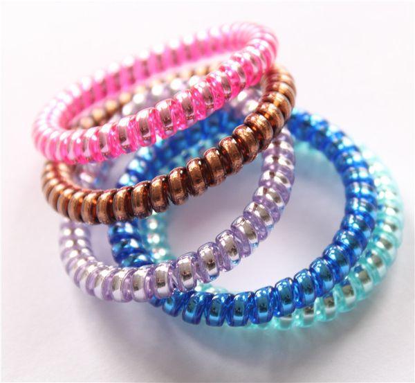 Mulheres Coloridas Hairband Menina Doce Cor Headband Telefone Cord Titulares de Rabo De Cavalo Elástico Anel de Cabelo Diâmetro 5 cm