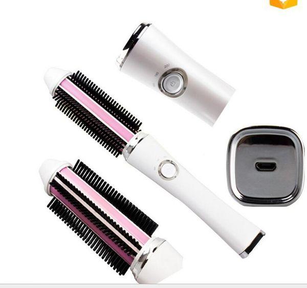 Cargador USB eléctrico Portable Hairstyling Enderezadora Peine Y Cepillo que se encrespa del pelo Viaje Rizador de pelo Wand Roller Styling Comb