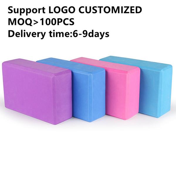 Logo customized! 100pcs Gym Exercises Physio Massage Foam Yoga Block Eco-friendly Non-slip Gym Exercise EVA Floor Mat