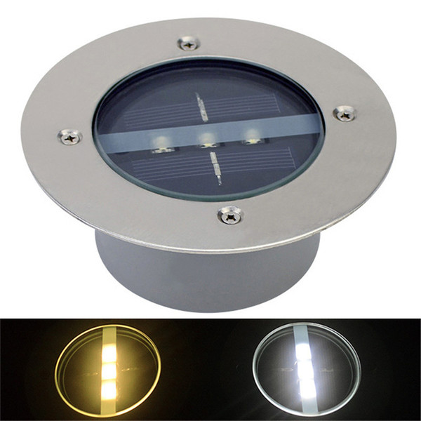 3leds LED Solar Powered Underground Floor Buried Light Outdoor Decking Landscape Jardín Lámpara de la Puerta de Stairsway Step Light