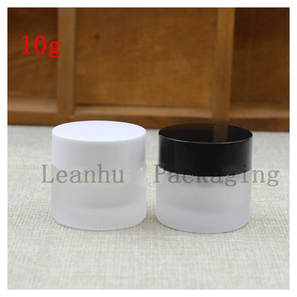 10g of Frosted Glass Jars With The Lid of The Black/White Beauty Cream Bottle Cosmetics Empty Packing Glass Bottle
