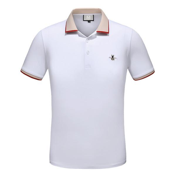 Дизайнер Рубашки Поло Мужчины Новый Летний Повседневная Мужская Рубашка Поло Бизнес Мужские Роскошные Поло Твердые Bee Вышивка Спандекс Высокое Качество Рубашки