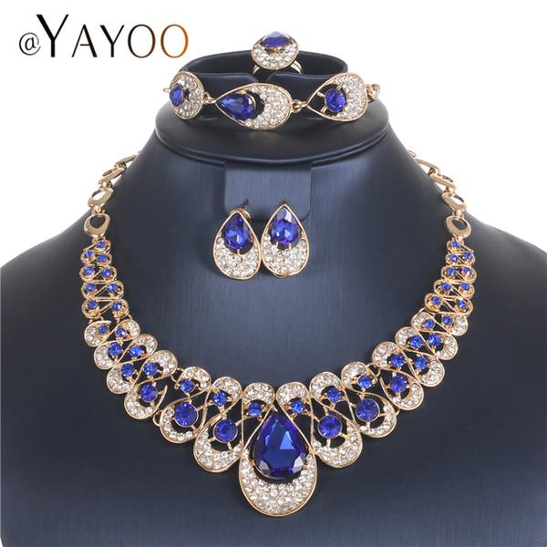 AYAYOO Conjuntos de joyería de moda Conjunto de joyería de fantasía africana Conjuntos de joyería de boda para mujeres Conjunto de collar de perlas de Nigeria