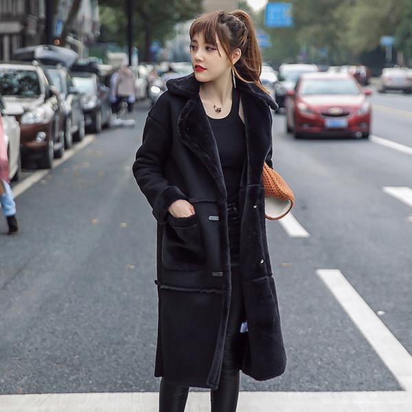 Vintage Suede Jacket Women 2018 Long Style Black Lamb Fur Patchwork Warm Cotton Coat Women Outwears High Quality CO037