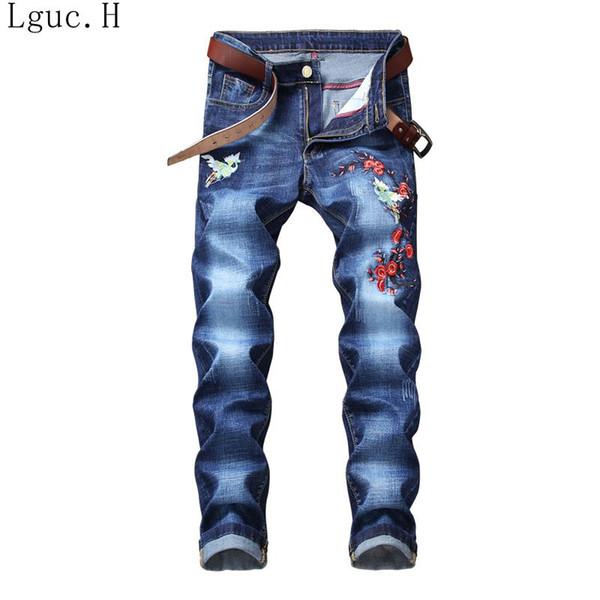 Lguc.H Men Fashions Birds Flowers Embroidery Straight Jeans Mens Pants Plum Blossom Embroidery Slim Fit Blue Jeans Men Clothes