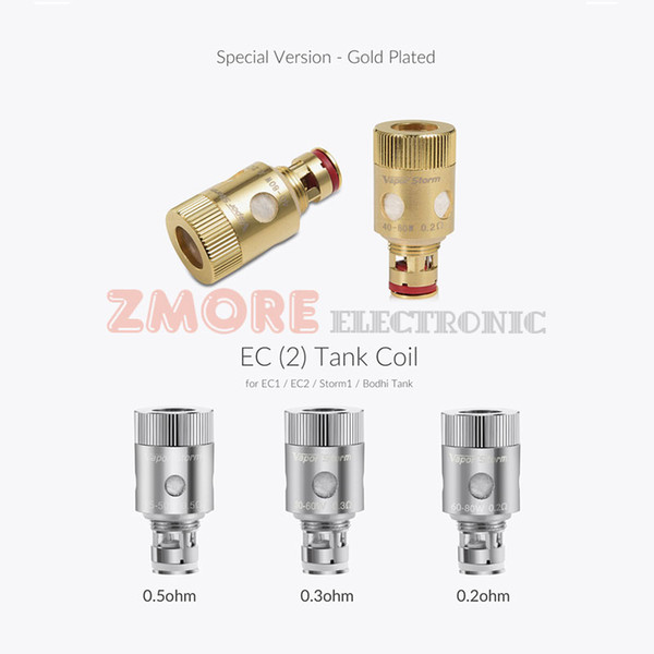 100% Original Vapor Storm EC II Tank Coil Golden Head 0.2ohm 0.3ohm 0.5ohm Replacement Coils 5pcs=1paper box