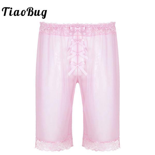 TiaoBug Mens De Mode Lingerie Sheer Doux Mesh Floral Dentelle Sissy Bowknot Lumière Shorts En Vrac Hot Pants Sexy Hommes De Nuit
