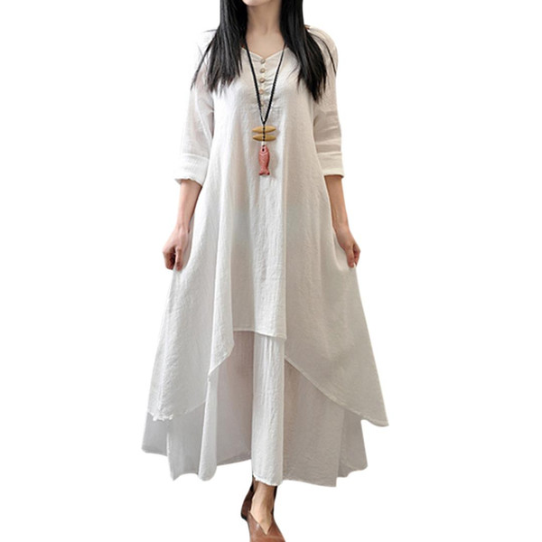 Autumn Vintage Loose Dresses Casual Literature Art Irregular Cotton Linen Maxi Dress