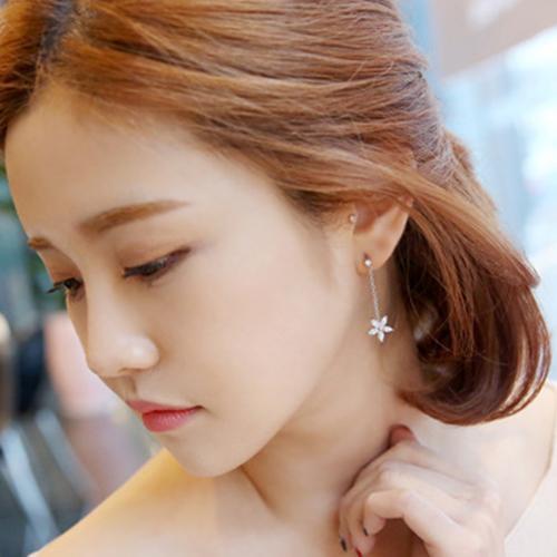 EH119 Europäische Lange Brief Blume Zirkon Quaste Baumeln Ohrringe für Frauen Silber Überzogene Marke Edlen Schmuck Hohe Qualität