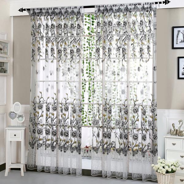 6 couleurs maison bureau mode fenêtre rideau fleur d'impression diviseur tulle voile drapé panneau voilage valances