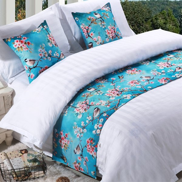 Cotton Floral Bedspread Bed Runner Throw Home Hotel Bedroom Bedding Decor Bed Tail Towel Decorative Protector