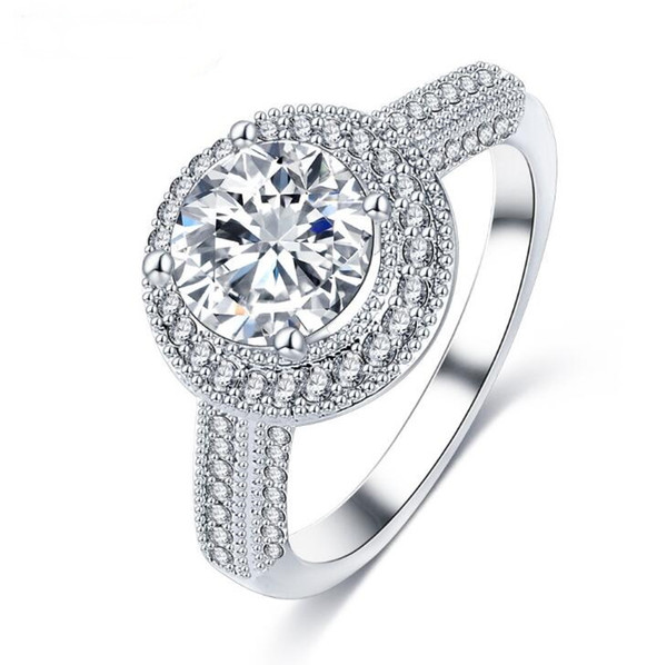 Fashion Lady Micro Inlay Diamond AAAAA Round Cubic Zirconia Copper 18k White Gold Plated Engagement Wedding Prong Setting Rings Gift Size7-9